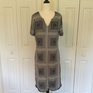 Tiana B. Geometric dot dress with Pom Pom hem